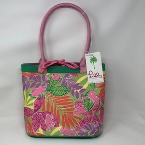 NEW LILLY PULITZER SHOPPER PALM BEACH PURSE TOTE